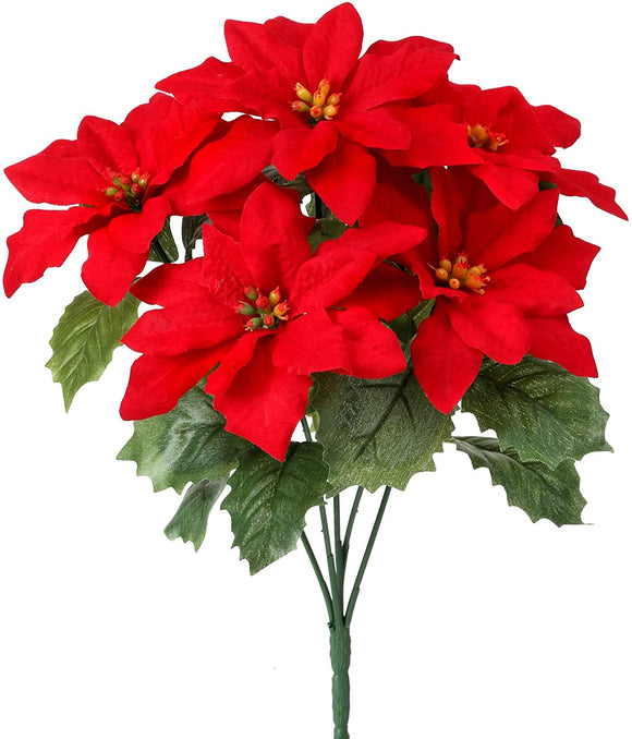 Set of 6 Red Christmas Poinsettia Bushes, Artificial Floral, 12 Inches, Christmas Flowers