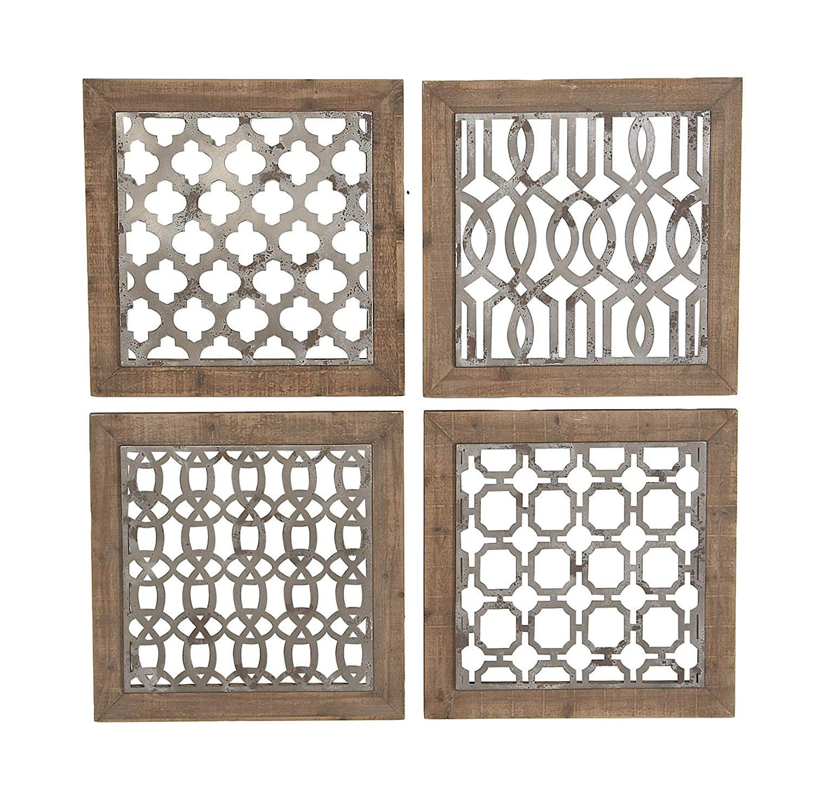 Ten Waterloo Metal and Wood Wall Decor, Set of 4 Framed Wall Tiles, 19.75 Inches x 19.75 Inches Each- 40 Inches x 40 Inches Total, Matte Grey Metal and Wood