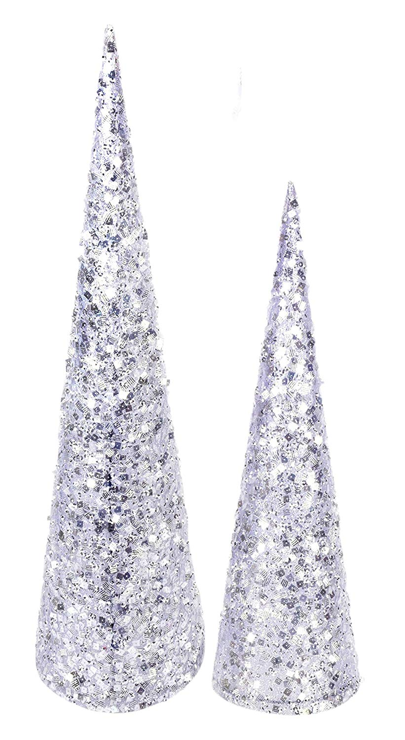 TenWaterloo 18 Inch and 24 Inch High Sequined and Glittered White Silver Christmas Cone Trees Set of 2
