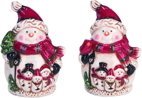 Ceramic Snowman Christmas Salt and Pepper Shaker Set, 3.5 Inches