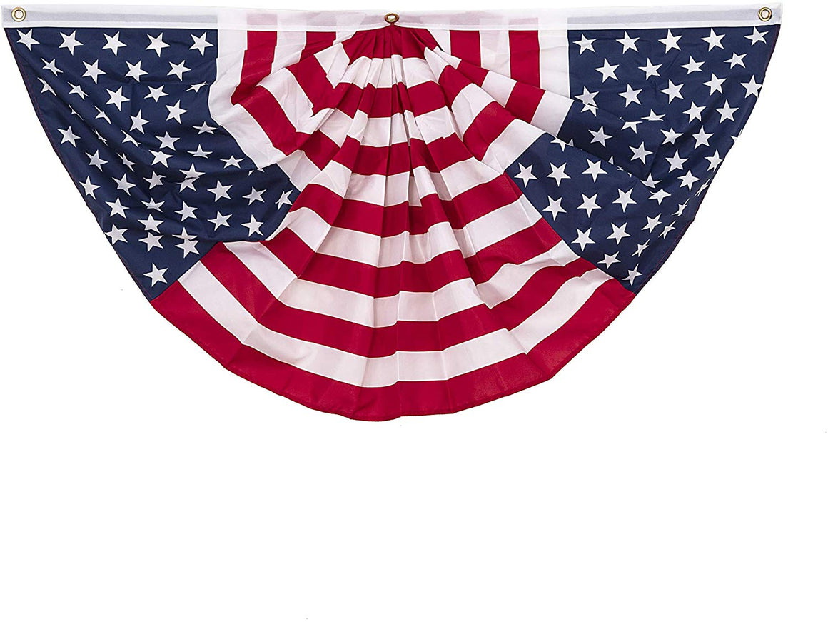 Durable Unique Patriotic American USA Flag Pleated Bunting - 2 x 4 Feet