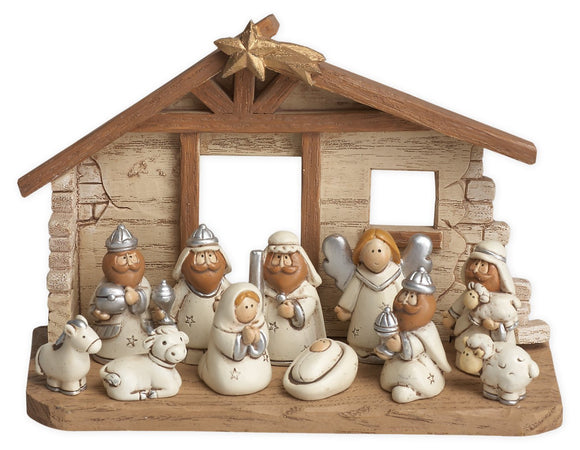 Nativity Set - Natural/White - Includes 11 Figures in 6 Inch Stable Creche Scene
