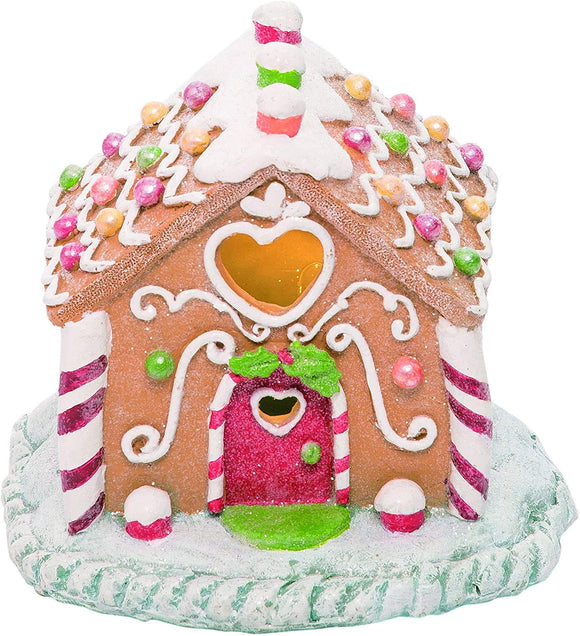 TII Lighted Sweetheart Gingerbread Candy House in Clay Dough Resin with Frosted Snow Look, Battery Operated, 6 inches Wide x 5.5 Inches High