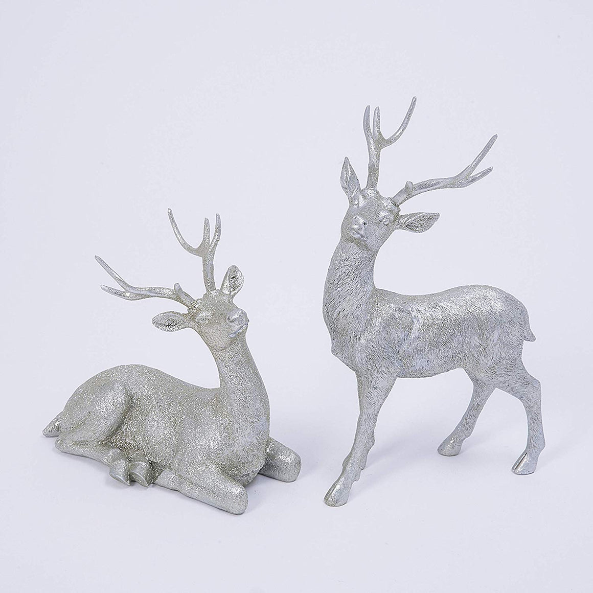 GER Champagne Silver Glittered Christmas Deer Set - 8.5 Inches and 12 Inches High - Holiday Decor Reindeer