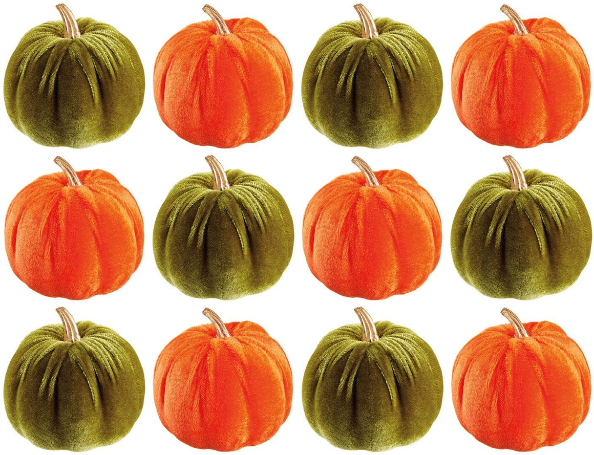 TenWaterloo Set of 12 Small Velvet Pumpkins in Orange and Sage Green with Gold Stems