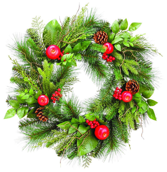 22 Inch Apple, Berries and Pine Cones Mixed Pine Christmas Wreath