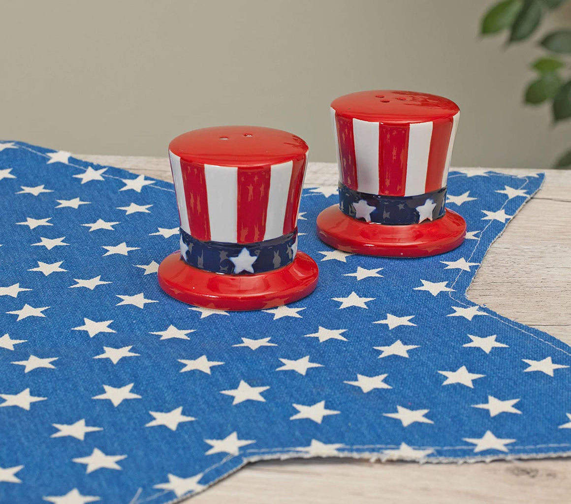 Ceramic Patriotic Uncle Sam Hat Salt and Pepper Shaker Set- Red, White and Blue