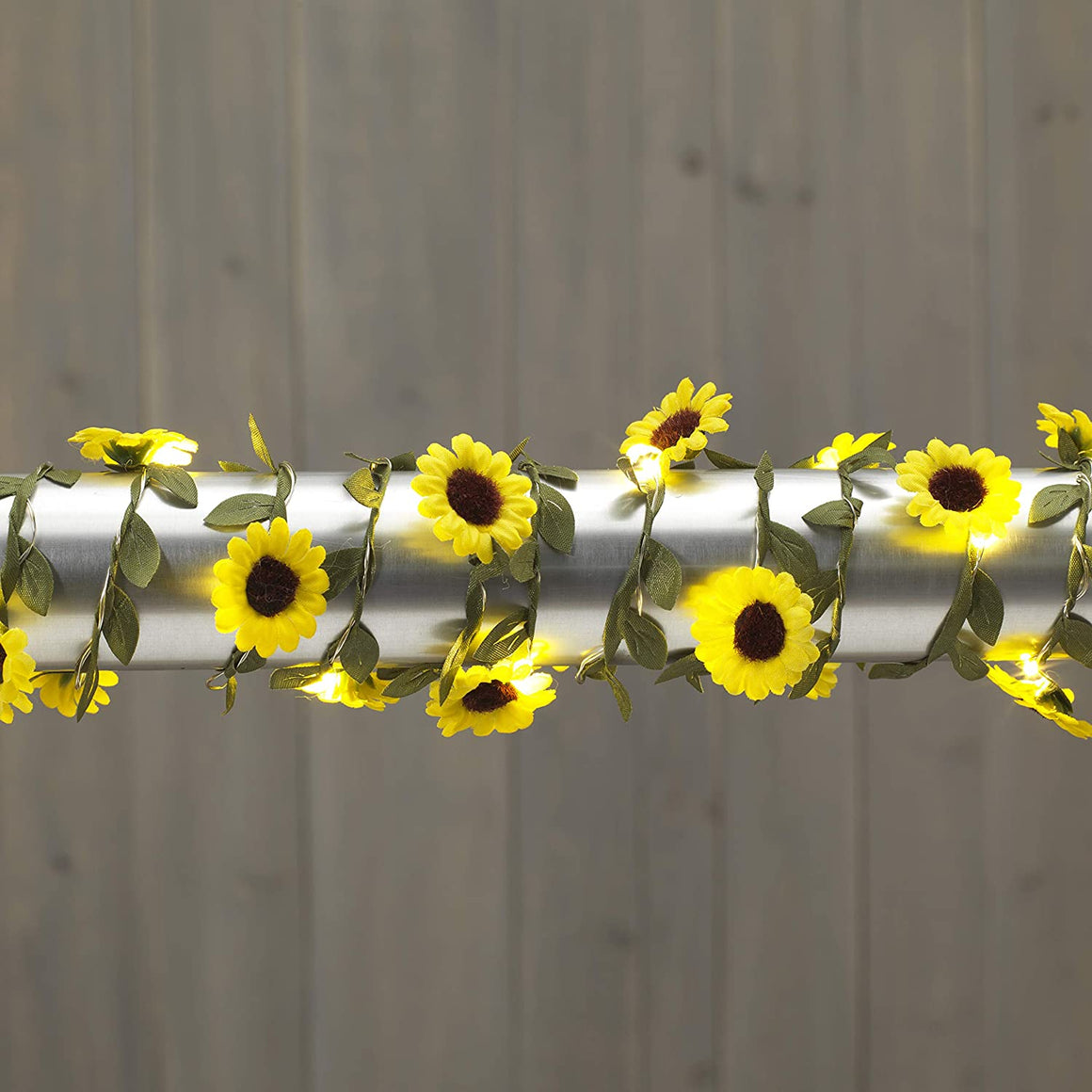 6 Foot Lighted Yellow Sunflower Garland, Everlasting Glow LED Battery Operated Warm White Lights