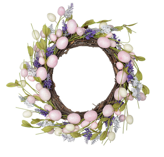 TII 18 Inch Pastel Easter Egg Spring Wreath with Grapevine Base - Artificial Floral and Eggs in Pink, Green Cream and Purple