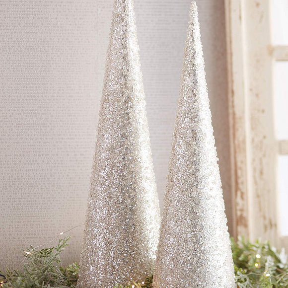 20 Inch and 24 Inch High Iced and Glittered Silver White Christmas Cone Trees Set of 2
