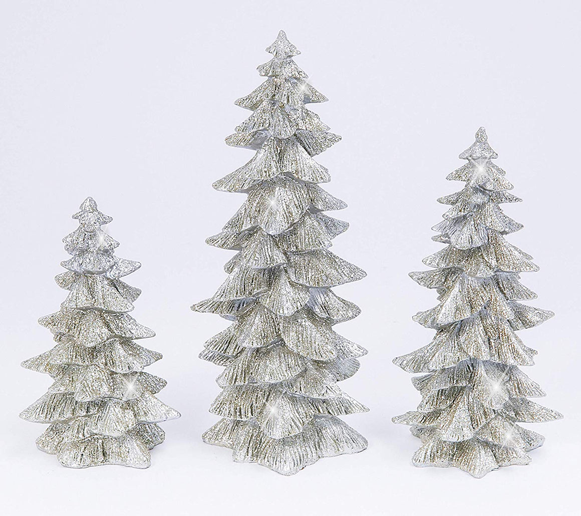 GER Set of 3 Silver Glittered Christmas Trees- 6 inches to 9.25 inches Tall