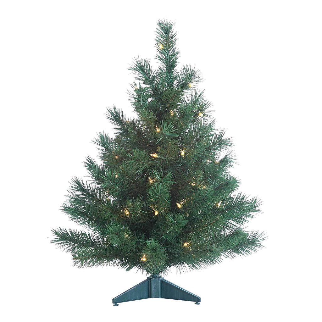 Gerson Colorado Spruce Lighted 2 Foot High Christmas Tree - Battery Operated with Timer - Artificial Tree with Warm White LED Lights - Indoor/Outdoor with Seam Sealed Battery Compartment