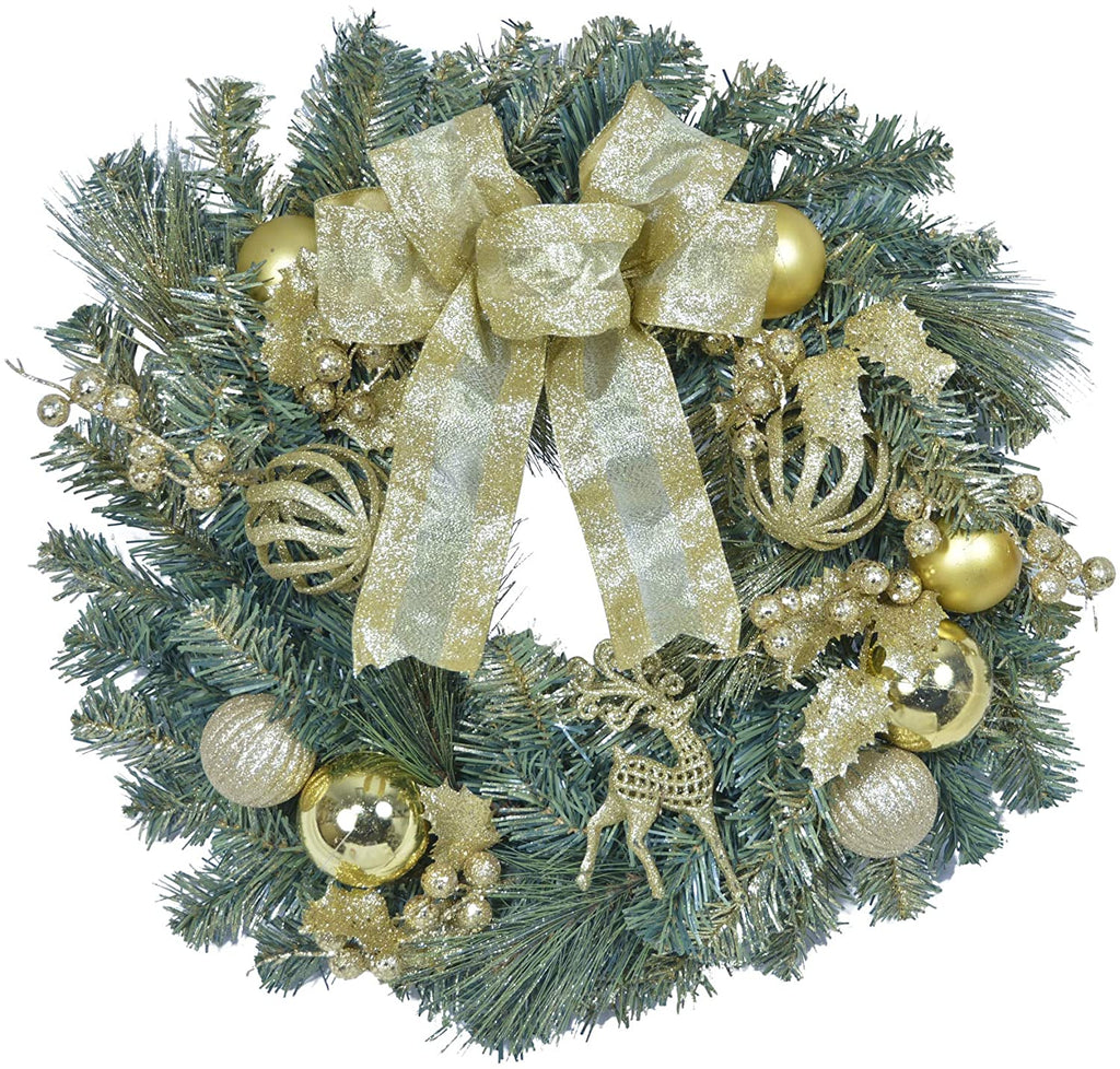 TenWaterloo 22 Inch Gold Glittered Christmas Front Door Wreath with Bow, Ornaments and Sparkling Accents, Artificial Floral