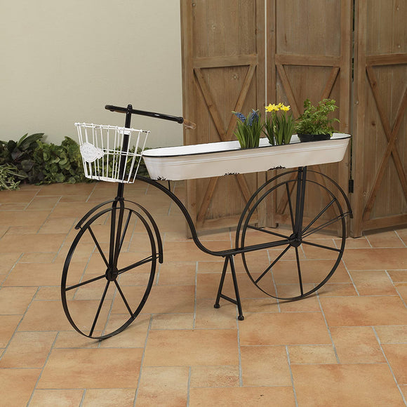"46"" L Metal Antique Bicycle w/Home Decor, Black"