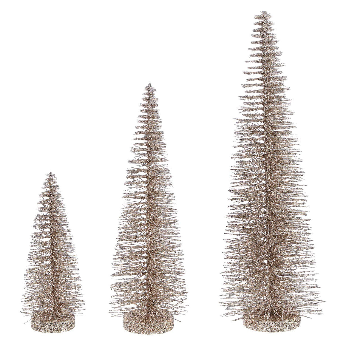 Christmas Bottle Brush Trees Set of 3 in Sparkling Champagne Gold, 17.5 Inches,14 Inches and 9 Inches High