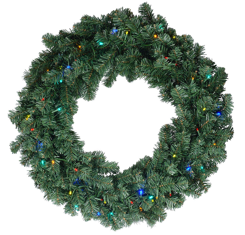 Ten Waterloo 28 Inch Balsam Pine Christmas Wreath with 220 Tips and 50 Multi LED Lights - Battery Operated with Timer - Artificial Pine Wreath