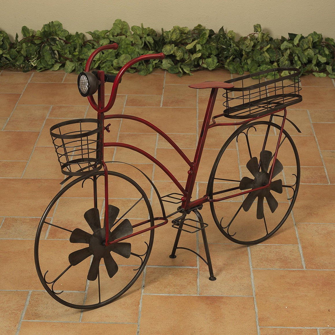 37 Inch Solar Lighted Metal Bicycle Planter Stand - Indoor / Outdoor Use
