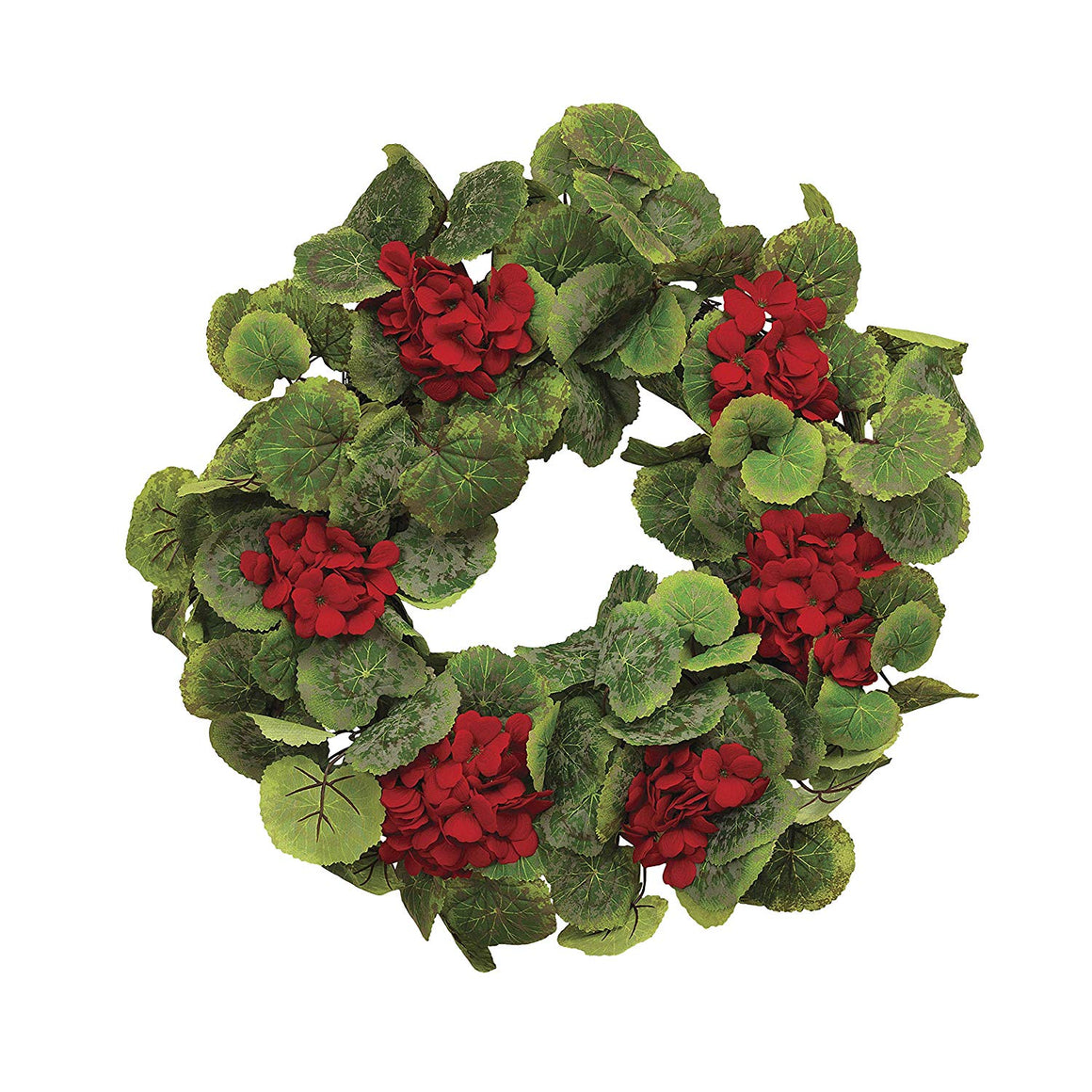 22 Inch Red Geranium Wreath on a Hand Tied Twig Base, Artificial Floral, Spring and Summer Front Door Wreath