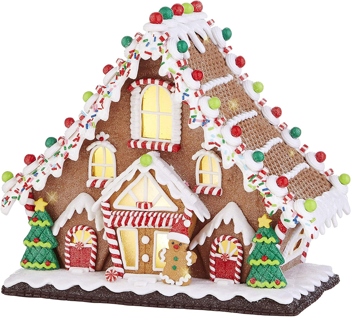 TenWaterloo Large Lighted Gingerbread Candy House in Clay Dough Resin with Frosted Snow Look, Battery Operated, 10.5 inches Wide x 9.5 Inches High