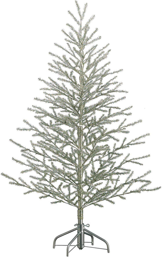 5'Hx40 D Tinsel Tree x368 on Metal Stand Antique Silver