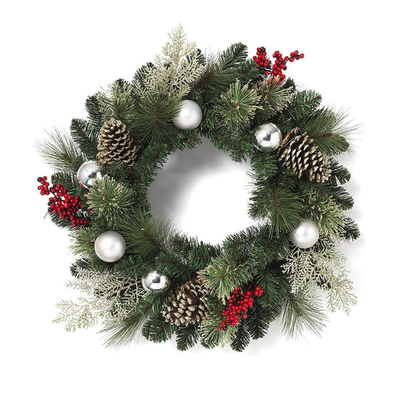 GER 24 Inch Mixed Pine Christmas Wreath with Silver Ornaments, Berries, Sparkled Pine Cones and Greenery, Artificial Pine