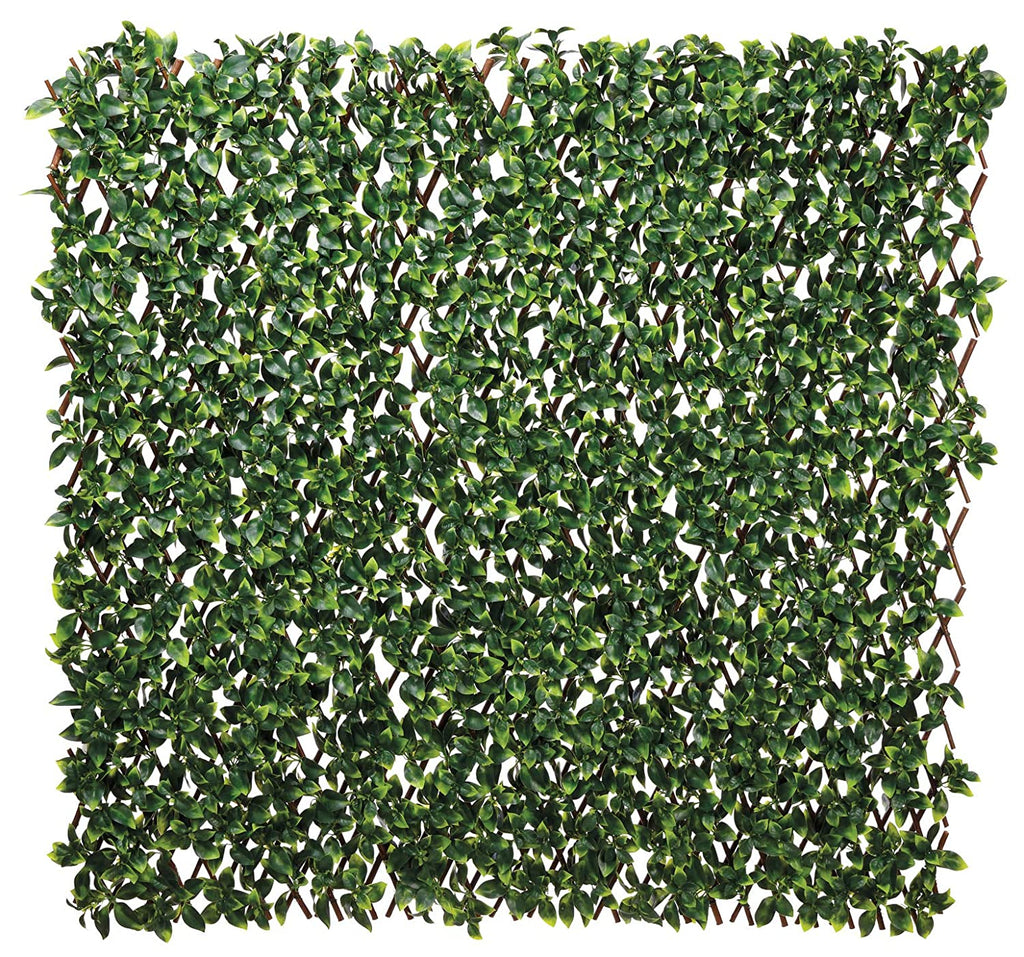 TenWaterloo UV Protected Outdoor Silk Gardenia Leaf Trellis Fence - 4 Feet to 8 Feet Long, Privacy Screen