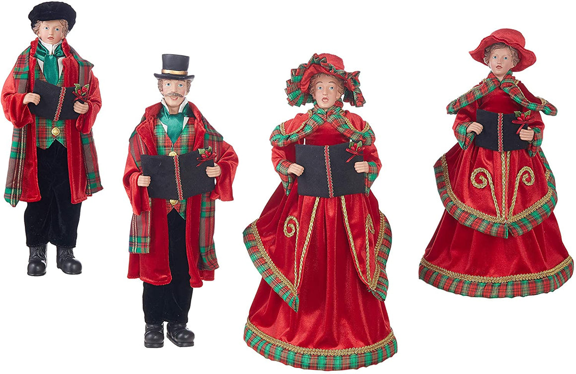Set of 4 Dickens Family Christmas Carolers in Red and Black Velvet and Red Plaid 16 to 18 Inches High - Large Christmas Display