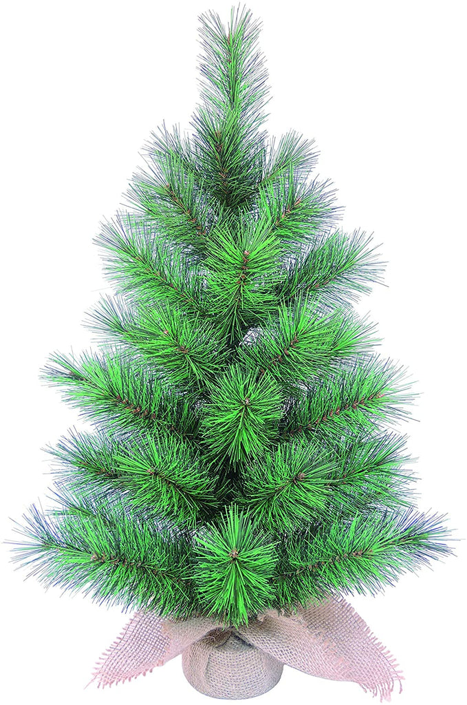 24 Inch High x 12 Inch Wide Artificial Tabletop Christmas Pine Tree with Burlap Base