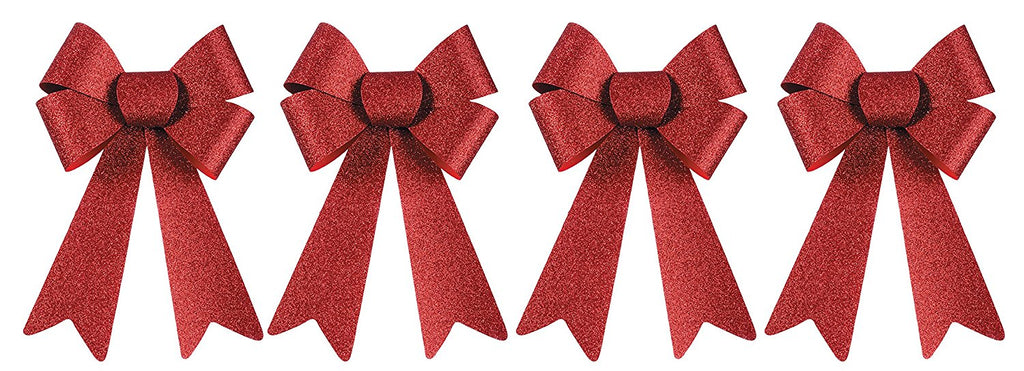 Set of 4 - 10 Inch Red Glitter Christmas Bows- Indoor / Outdoor Use