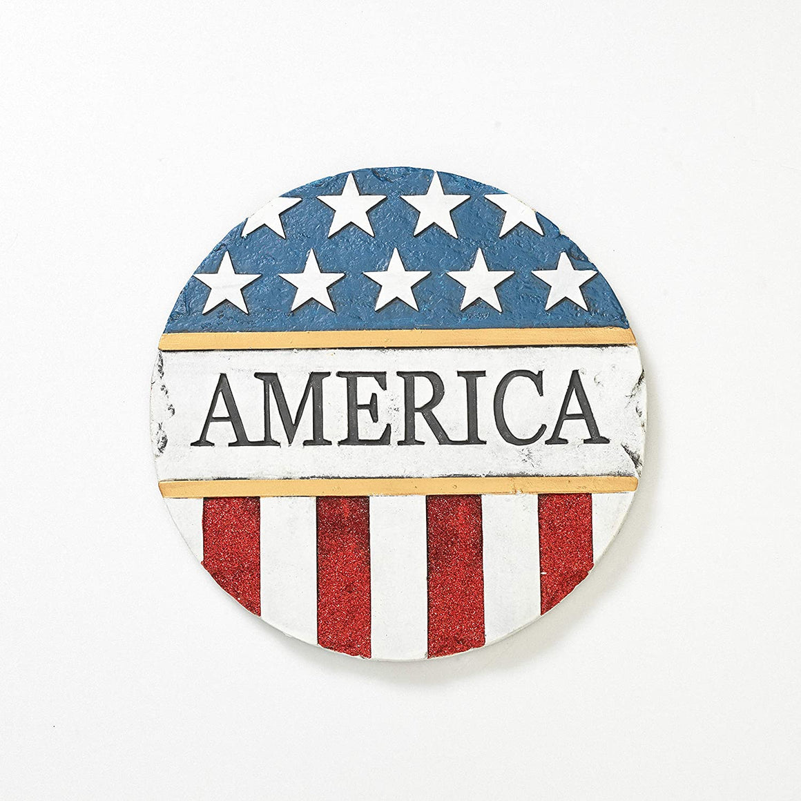 America Patriotic Round Garden Stepping Stone, 11.25 Inches Diameter