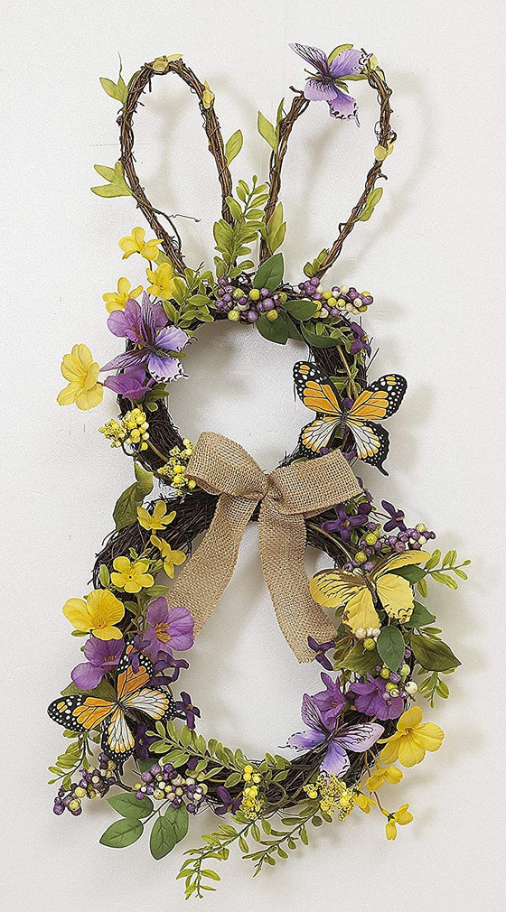 GER 24 Inch High Easter Bunny Wreath with Hand Tied Twig Base, Artificial Floral, Butterflies and Ribbon Bow