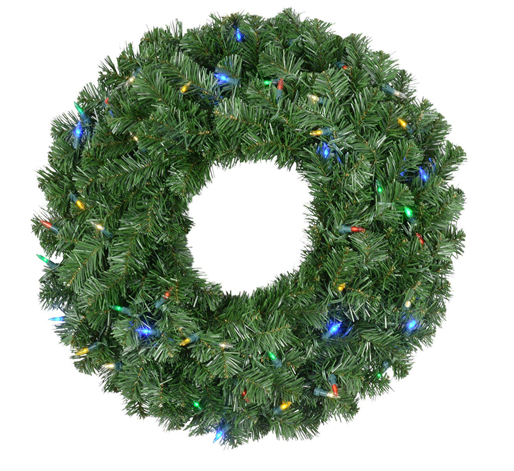 Ten Waterloo 23 Inch Balsam Pine Christmas Wreath with 200 Tips and 50 Multi Colored LED Lights - Battery Operated with Timer and Function Mode