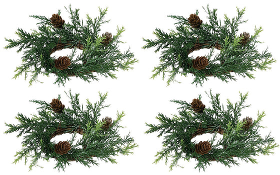 Set of 4 Holiday Candle Rings On Vine Base With Pine Cones and Greenery - Light Silver Glitter - 2 Inch Opening, 6 Inch Outside Diameter