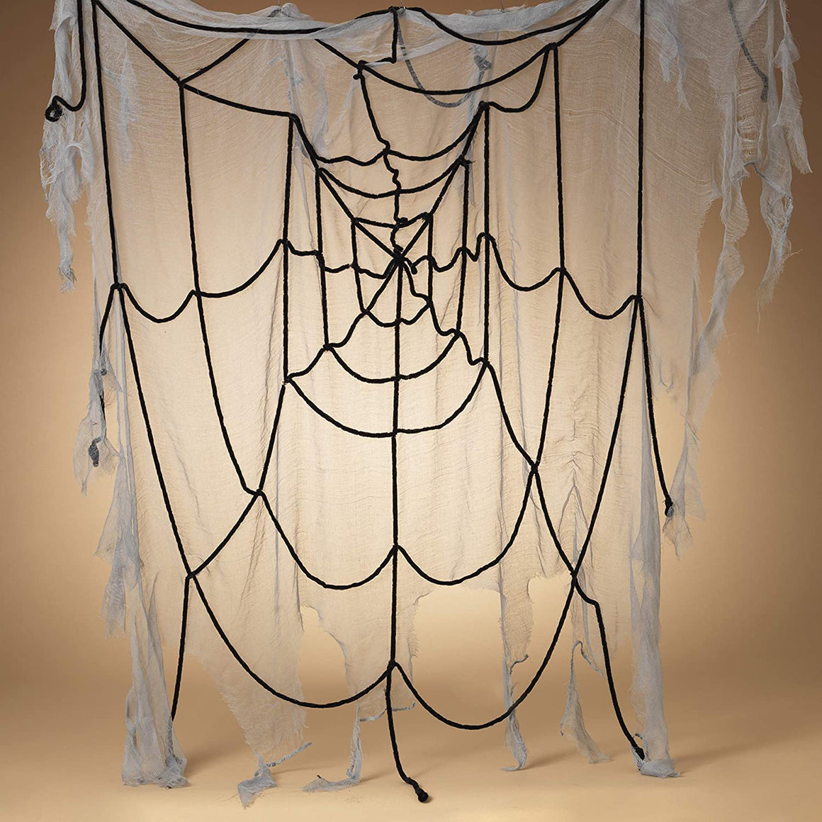 5.5 Foot Spooky Spider Web for Halloween Decor, Grey and Black Gauze Web