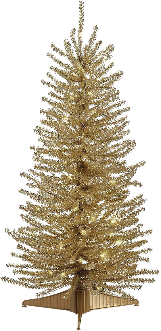 24 Inch Lighted Gold Tinsel Tree, Battery Operated with Timer and Functions