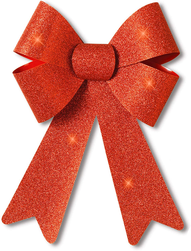Outdoor Christmas Wreath Bow - 14 Inches High Red Glitter Bow Seasonal Décor - Indoor/Outdoor Use, Weatherproof for Wreaths, Windows, Garlands, Mailboxes