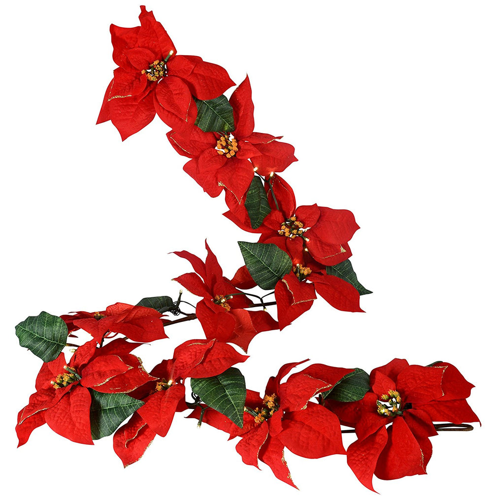 6 Foot Gold Tipped Poinsettia Christmas Garland With 36 LED Lights - Battery Operated With Timer - Artificial Poinsettia