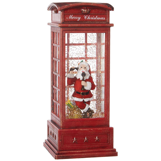 10 Inch Lighted and Moving Christmas Red Phone Booth Water Snow Globe with Santa on The Phone- British Phone Booth - Battery Operated