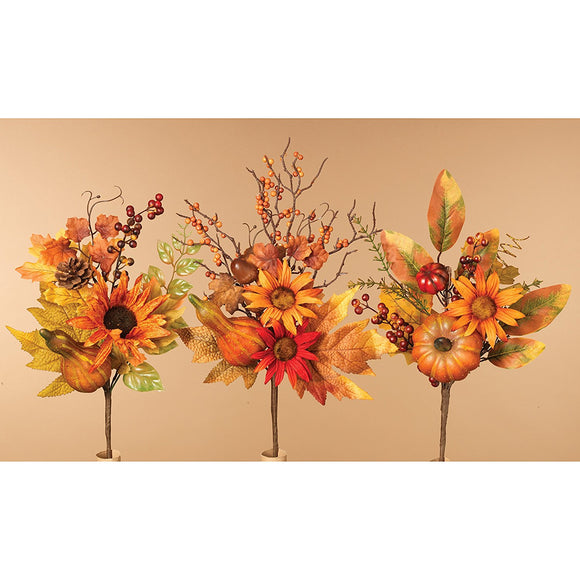 14.5 Inches High Harvest Fall Picks Set of 3- Floral Arranging