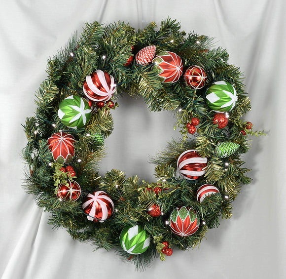 TenWaterloo Christmas Sparkling Wonder Collection Mixed Pine Lighted Wreath, 24 Inches, with Ornaments and Battery Operated Timer