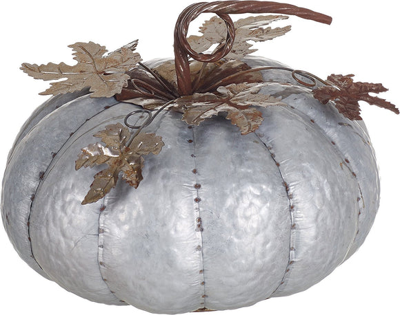 12 Inch Fall Galvanized Metal Pumpkin With Seaming Detail and Cut Metal Leaves
