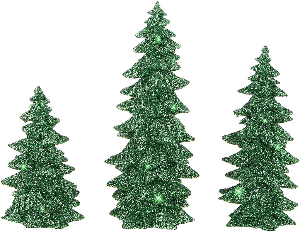 Raz Set of 3 Glittered Green Christmas Trees- 6 Inches to 9.5 Inches Tall