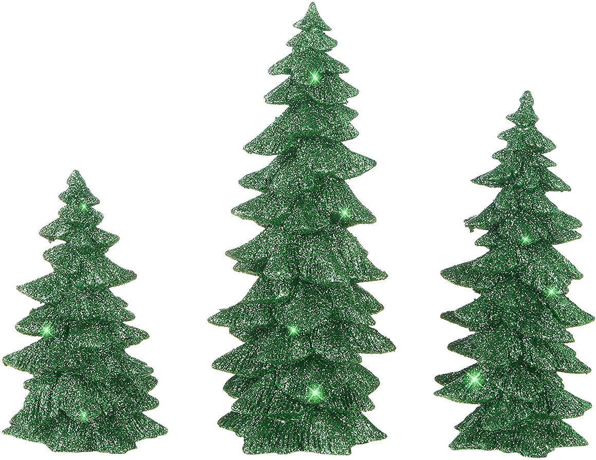 Set of 3 Glittered Green Christmas Trees- 6 Inches to 9.5 Inches Tall