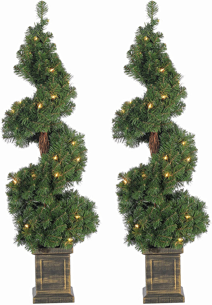 TenWaterloo Set of Two 3.5 Feet High Pre-Lit Entryway Artificial Pine Trees in Planters, Battery Operated with Timers, Indoor/Outdoor Use