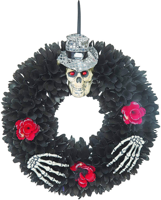 TII Halloween Wood Curl Wreath, 16 Inch Black Spooky Skeleton Wreath with Red Wood Rosettes and Silver Sparkle