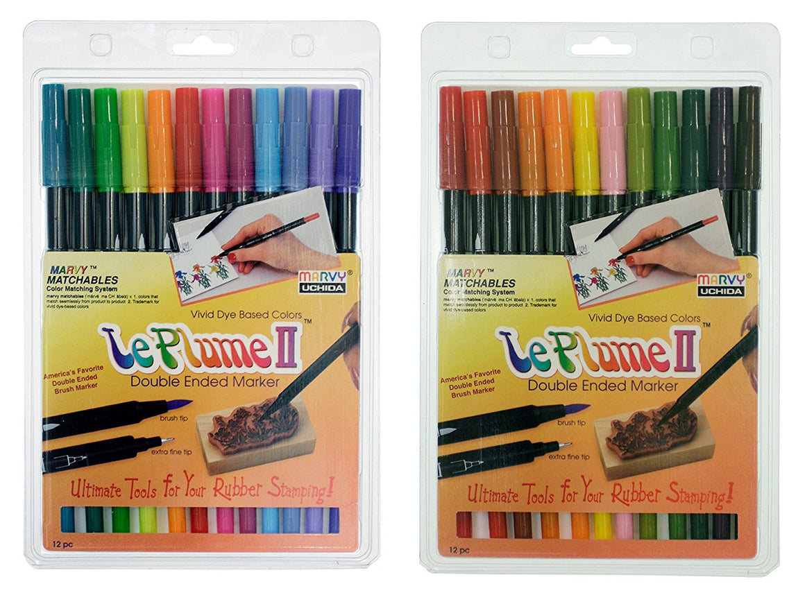 Uchida of America Bundle, Two Sets of 12- 1122-12E Le Plume II Bright Pen Set and 1122-12F Le Plume II Garden Pen Set