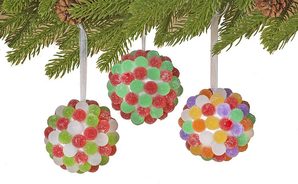 Set of 3 Gumdrop Ball Christmas Ornaments, 3 Inches, Artificial Sugared Gumdrops