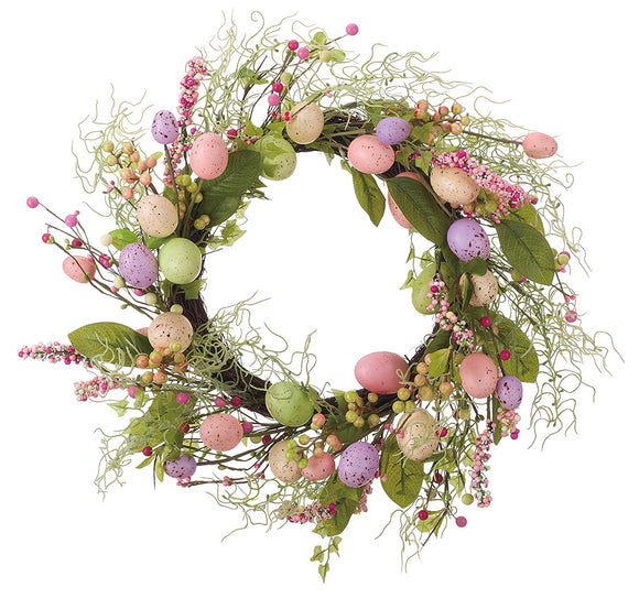 20 Inch Easter Egg Spring Wreath on Vine Base