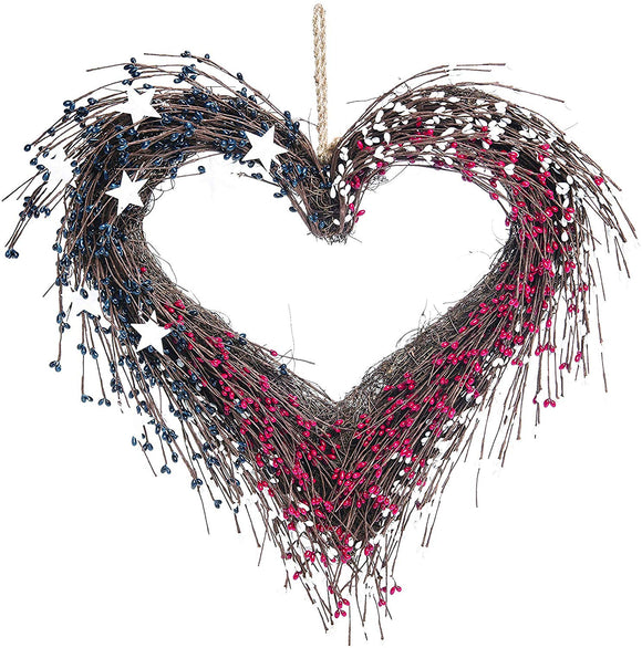 TII Americana Heart Shaped Wreath in Red, White and Blue Faux Berries with White Stars 20 Inches x 18 Inches- Patriotic Wreath Decoration