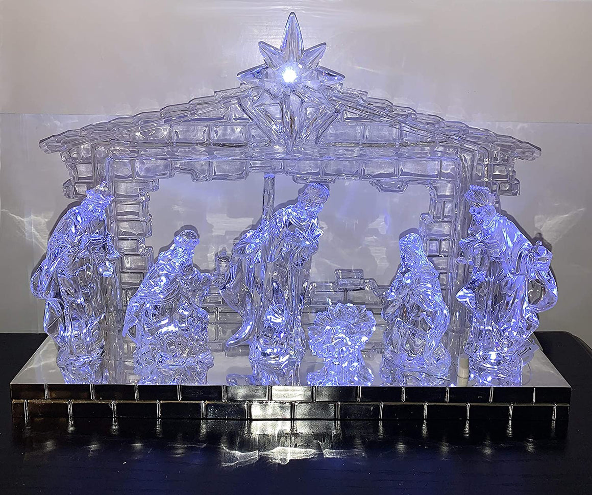 TII Musical Crystal Look Nativity with Music and Lights, Battery Operated, Multi Function, 12 Inches x 8.5 inches